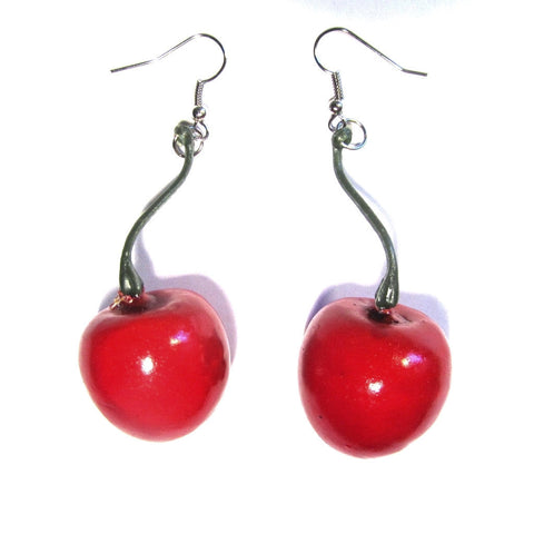 Plastic Cherry Sassy Drop Earrings
