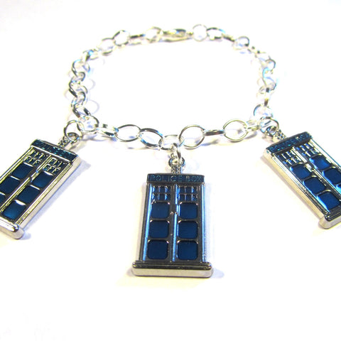 Doctor Who Style Police Box Charm Bracelet