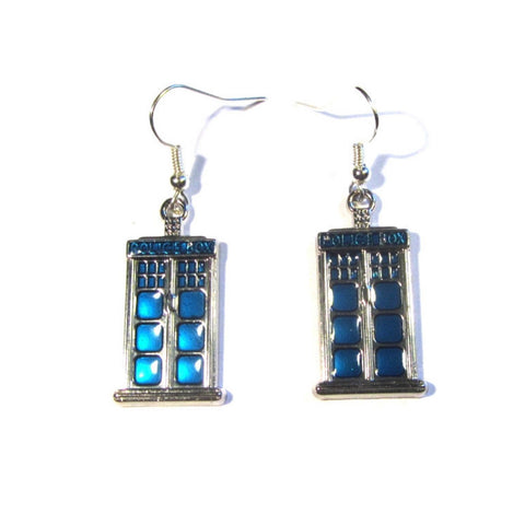 Doctor Who Style Police Box Charm Earrings