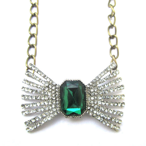 Dazzling Green Stone Diamante Bow Chain Necklace
