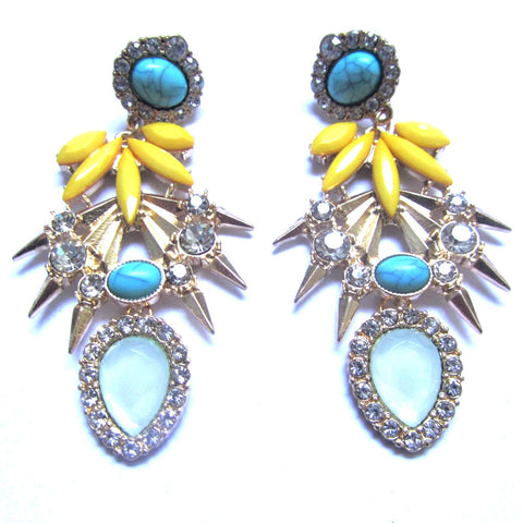 Yellow Turquoise Crystals Faux Gems Drop Earrings