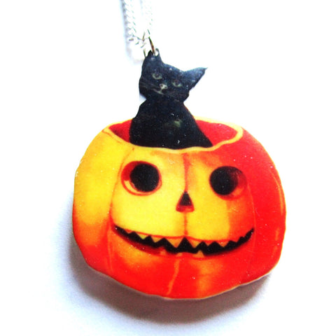 Halloween Pumpkin Black Cat Pendant