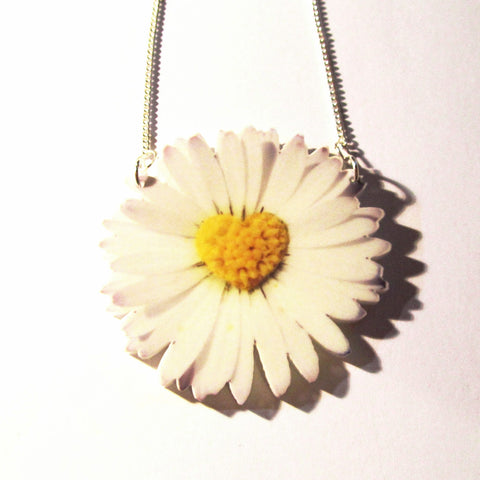 Gorgeous Large White Daisy Flower Heart Acrylic Pendant