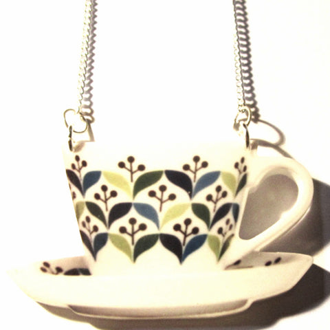 Large Retro Teacup & Saucer Acrylic Pendant Necklace