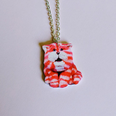 Retro Bag Puss Acrylic Pendant Necklace