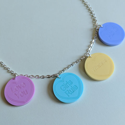 Pretty in Pastels Retro Love Heart Slogans Acrylic Necklace