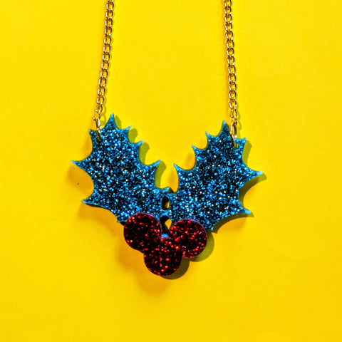 Gorgeous Glitter Acrylic Holly Leaf Berries Christmas Necklace — Green