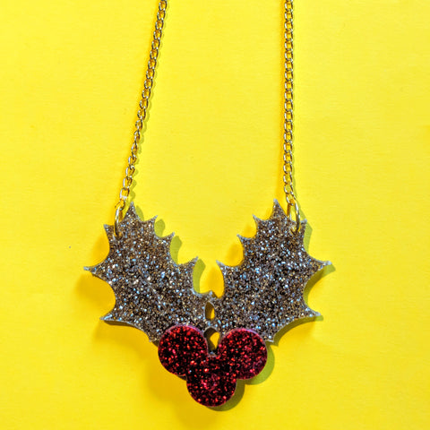 Gorgeous Glitter Acrylic Holly Leaf Berries Christmas Necklace — Gold