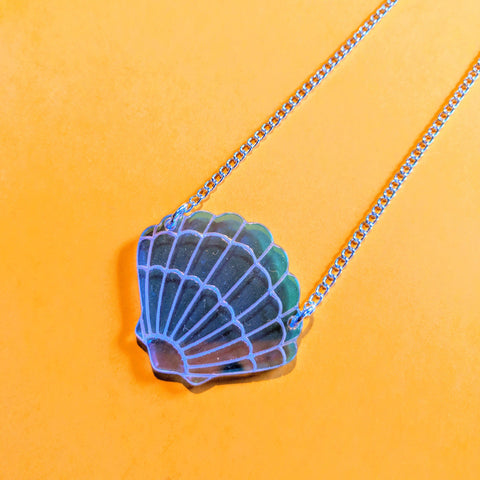 Radiant Rainbow Iridescent Acrylic Scallop Shell Necklace