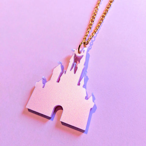 Pretty Pink Fairytale Princess Castle Silhouette Acrylic Necklace