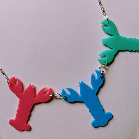 Quirky Colourful Multi Lobster Acrylic Necklace