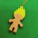 Colourful 80s Troll Doll Acrylic Necklace - Large Yellow