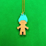 Colourful 80s Troll Doll Acrylic Necklace - Pastel Spearmint Green