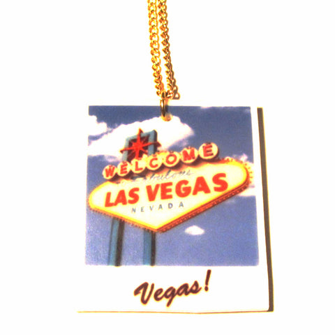 Las Vegas Welcome Sign Polaroid Acrylic Pendant