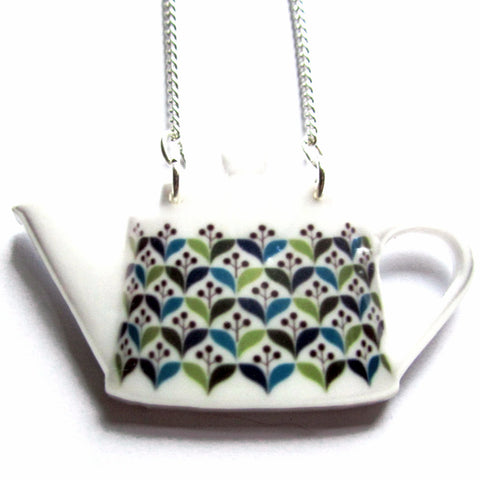 Large Retro Teapot Acrylic Pendant Necklace