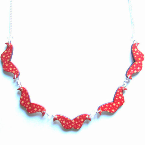 Red Star Patterned Wooden Moustaches Necklace