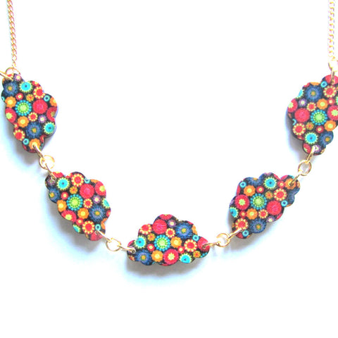 Patterned Clouds Multicolour Wooden Necklace