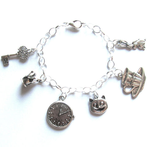 Alice In Wonderland Theme Charm Bracelet
