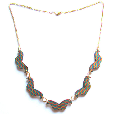 Bright Check Patterned Wooden Moustaches Necklace