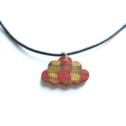 Patterned Wooden Cloud Thong Pendant