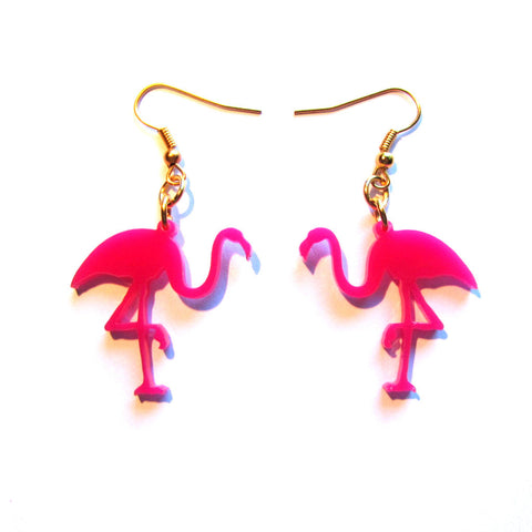 Hot Pink Flamingo Acrylic Drop Earrings