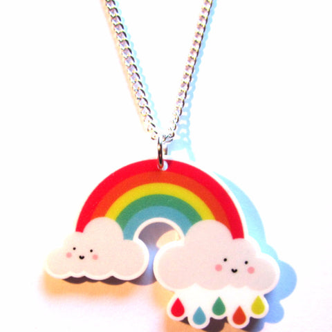 Cute Rainbow Acrylic Pendant Necklace