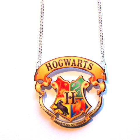 Hogwarts Crest Cut Out Pendant Necklace