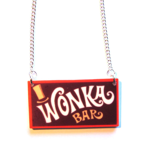 Wonka Bar Acrylic Pendant Necklace