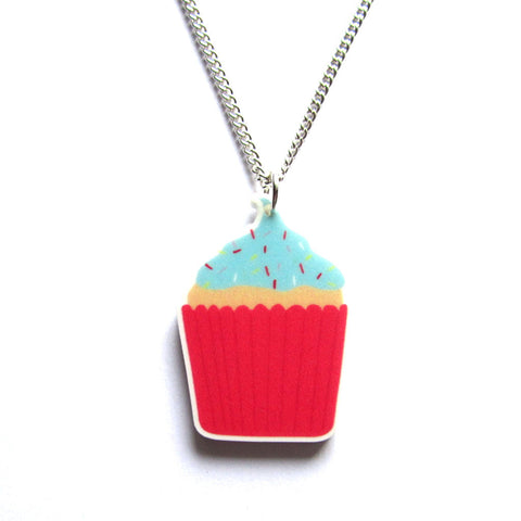 Colourful Cupcake Acrylic Pendant Necklace