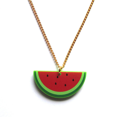 Iconic Watermelon Acrylic Pendant Necklace