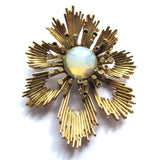 Vintage Statement Golden Opal Flower Brooch
