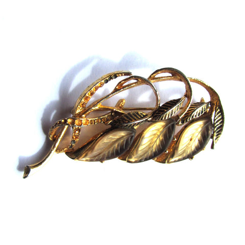 Vintage Leaf Design Gems Golden Brooch