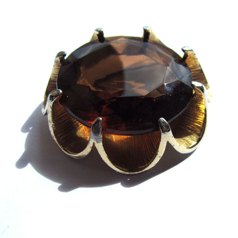 Vintage Smokey Brown Faceted Glass Golden Brooch