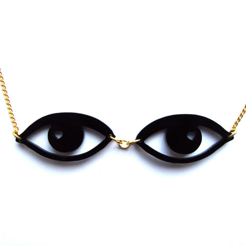Cool Acrylic Smoky Eyes Chain Necklace