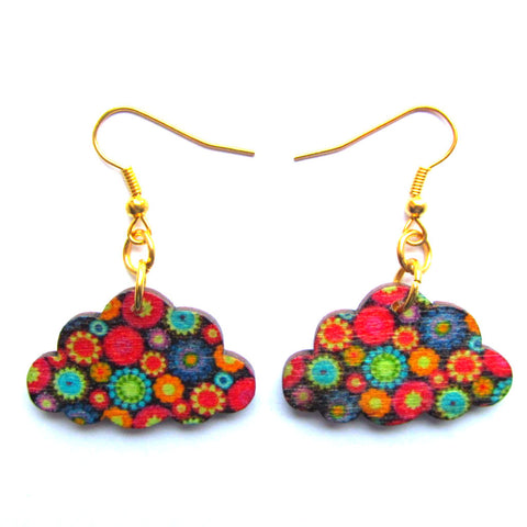 Patterned Clouds Multicolour Wooden Earrings