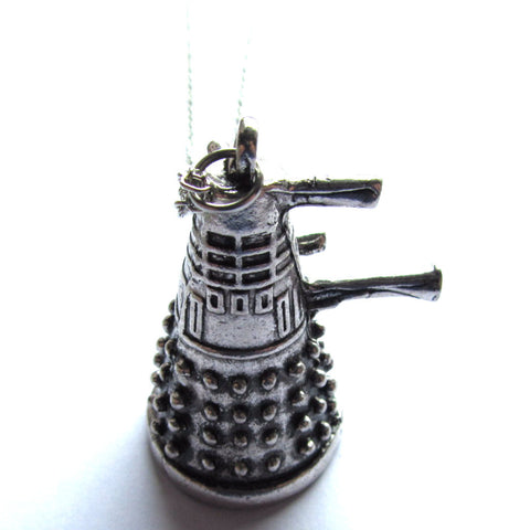 3D Cast Metal Distressed Dalek Pendant Necklace