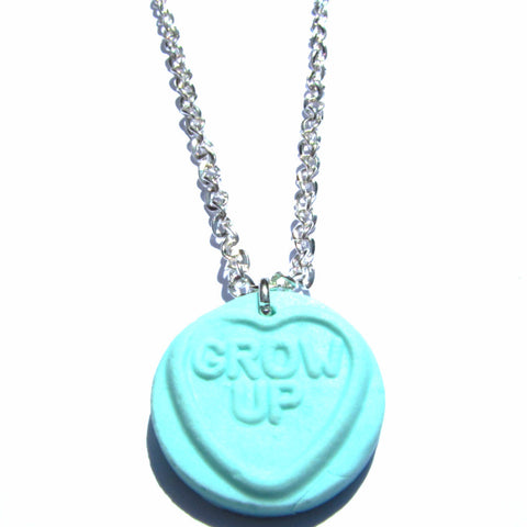 Sweet Faux Love Heart Clay Charm Pendant Necklace