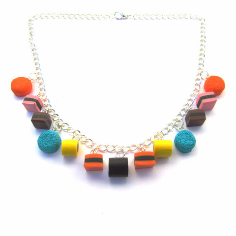 Faux Liquorice Allsorts Sweets Clay Necklace