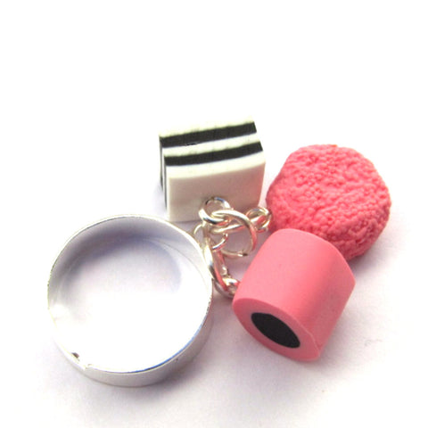 Faux Liquorice Allsorts Sweets Clay Ring