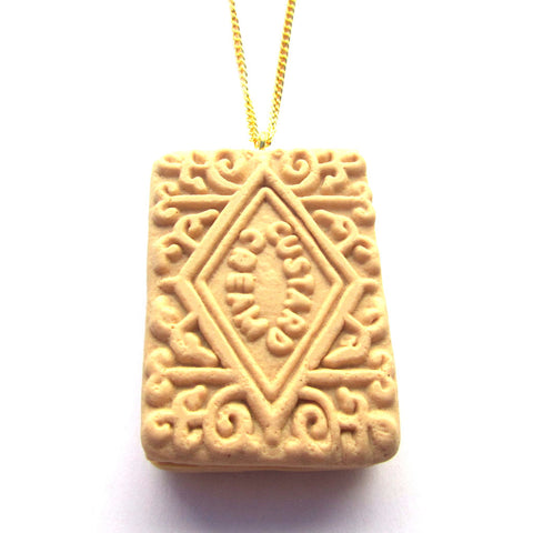 Large Faux Custard Cream Biscuit Clay Pendant Necklace