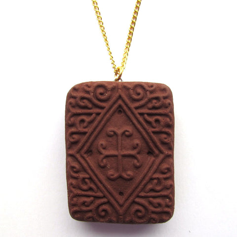 Large Faux Chocolate Biscuit Clay Pendant Necklace