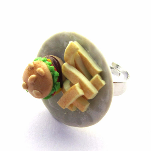 Cool Kitsch Clay Burger and Chips Food Plate Ring