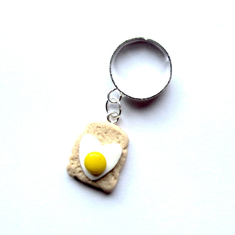 Quirky Egg on Toast Clay Adjustable Ring