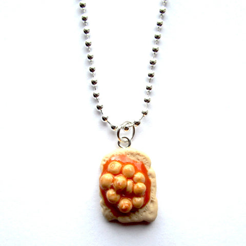 Quirky Beans on Toast Clay Pendant Necklace