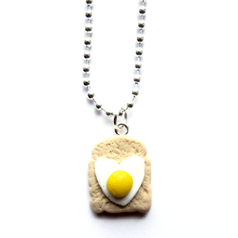 Quirky Heart-shaped Fried Egg on Toast Clay Pendant Necklace