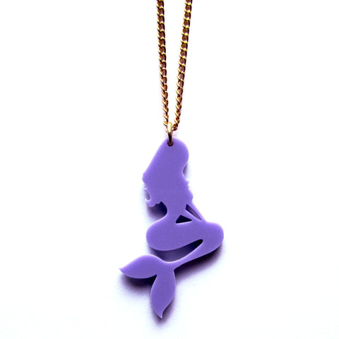 Sassy Lilac Mermaid Silhouette Acrylic Pendant Necklace