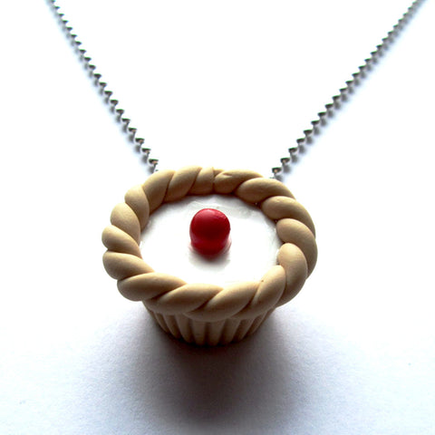 Pretty Faux Bakewell Tart Clay Pendant Necklace