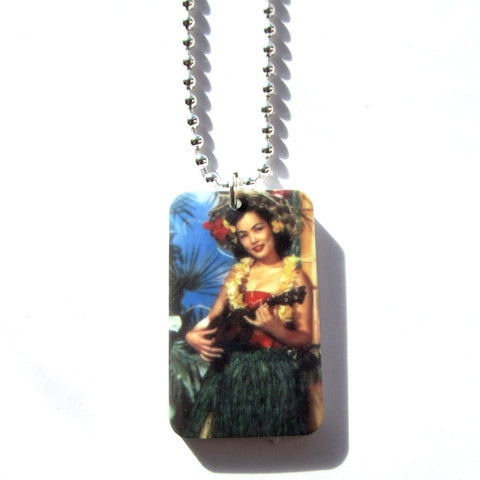 Beautiful Retro Strumming Hawaiian Girl Tropical Tiki Kitsch Necklace