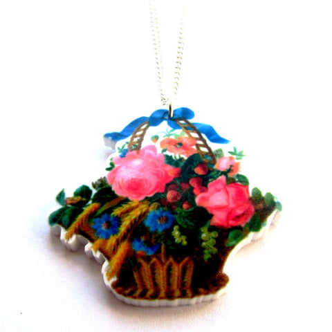 Pretty Basket of Flowers Vintage Style Acrylic Pendant Necklace