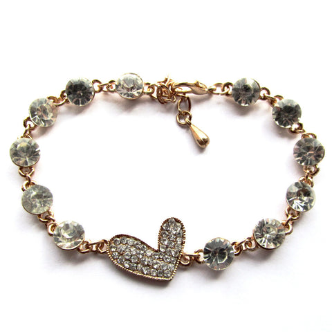 White Stone Studded Bling Heart Golden Bracelet
